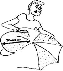 De parachute knippen, 30 tot 40 cm