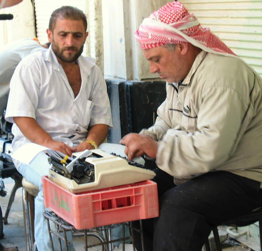 Schrijver op de bazar van Damascus